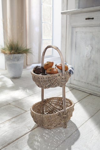 Basket Rack, Basket Stand, Basket-Etagere, Lovely Cottage, Multipurpose Rack Basket 2 Tier
