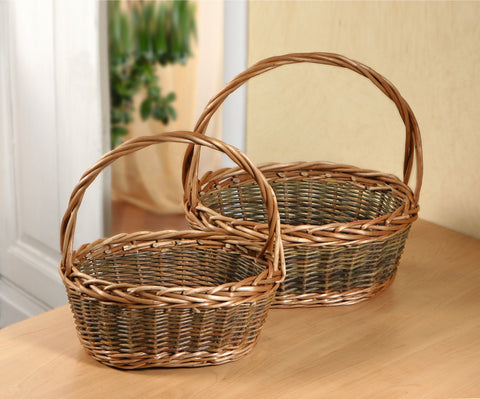 Filling Baskets, Fruit, Kitchen, Storage Baskets, Multipurpose Basket, Woven Braided Basket, Set Of 2