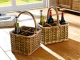 "Bottle Basket ""Wicker"", Versatile Basket, Filling Basket, Storage Basket, For 4 Bottles"
