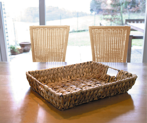 Woven Tray Storage Basket, Rural Interlaced, Decorative Filling Tray, Rectangular Serving, Tray for Serving Food, Coffee or Tea Tray
