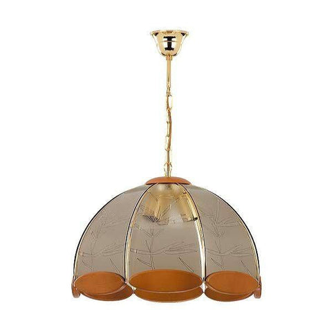 Hanging Light Gold Wood Steel Glass Ceiling Pendant Lamp Fixture Lighting Metal Indoor Lighting Home Decoration 3L 1815