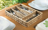 Cutlery Basket, Rattan Style Cutlery Dispenser, Cutlery Section Divider Set Basket, Perfect for Kitchen