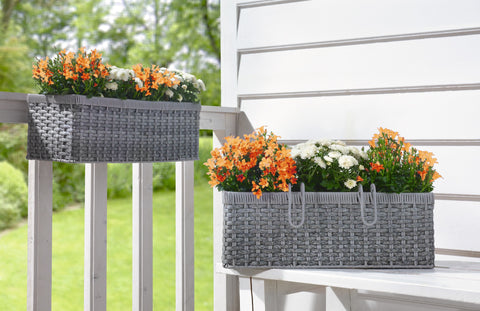Gray Balcony Planter, Rattan Style Planter Basket, Braided Planter, Planter Basket, Pots Planter Set Of 2