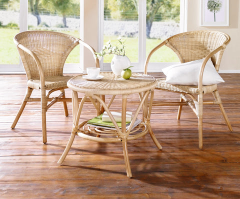 Rattan Table, Wicker Braided Rattan Table, Garden Furniture, Portable Table, Outdoor Rattan, Tea Table in Vintage Style