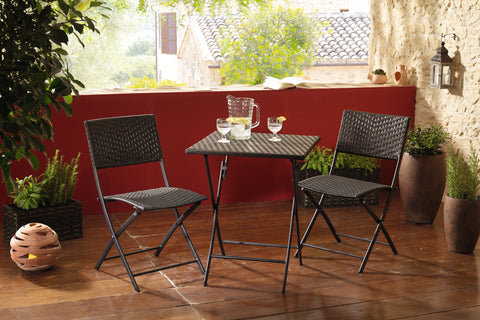 "Metal Folding, Table and Chairs, Garden Furniture, Chairs Bistro Set, ""Pure Elegance"", Outdoor Patio Chair, Set 3 pcs"