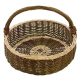 "Basket ""Nature Green"" Decorative Basket Green Willow Decoratively Intertwined with White Willow, Stable Handle"