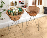 Round Small Storage Basket with Stand, Tripod  Filling Basket, Stylish Basket, Woven Baskets, Decorative Baskets, Shelving Rack, Metal Shelving Unit, Storage Rack Unit,