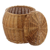 Laundry Basket, Wooden Rattan Practical Order Aid Made of Quality Natural Material in Natural Tone, Removable Flat Cover