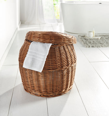 Wicker Laundry Basket, Wooden Rattan Basket, Made of Quality Natural Material in Natural Tone, Removable Flat Cover