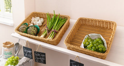 Large Display Wicker Tray, Display Rack,