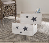 Decorative Universal Wooden Storage Box Bedroom Decor Living Kitchen Kids Parents Room Set of 2