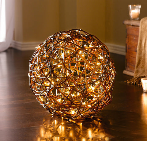 Wicker Rattan LED Ball, Xmas Ornament LED Ball Lamp, Decorative Lighting Natural Pasture Decor, Wedding Christmas Party Home Decoration