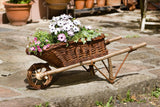 "Planter Cart, Flower Basket, Wicker Cart, ""wheelbarrows"", Flower Vase, Wicker Rattan, Plant Baskets, Plant Patio, Garden Decoration"