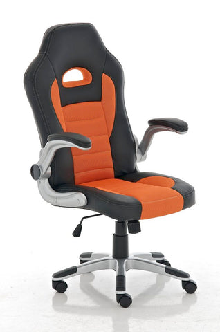 Modern Mesh Orange Office Chair with Movable Armrests
