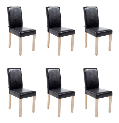 Set of 6 Dining chairs Natural, Black , dining Room Chairs Leather Pu