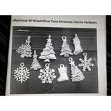 Pack of 40 Mixed Silver Tone Christmas Charms Pendants Christmas Tableware Amazon