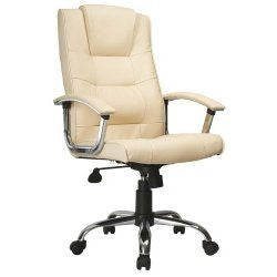 Chrome and Padded Office Desk Executive Leather Chair in Cream Colour