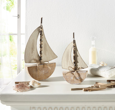 Deko-Boot, Sail Away, Sailing Decoration, Wooden Sailing Ship, Woodcrafts, Sailing Ship, Decoration Models Set Of 2