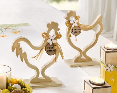 Happy Easter Decoration Chicken, set of 2