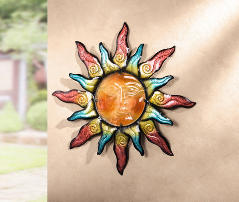 Colorful Metal Sun, Wall Hanger, Wall Decoration, Painted Metal Sun, Wall Hanging, Home Decoration