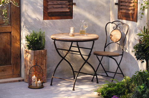 Metal and Wood Chair, Metal Chair, Folding Chair, Garden Chair, Metal Frame Chair, Outdoor Dining Chair