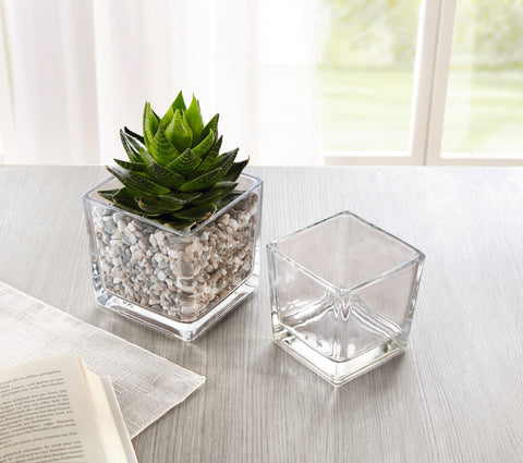 Decoration Glass, Cube Shape, Glass Decoration, Room Table Decoration, Glass Decor, Decorative Vases Glass, Set of 2