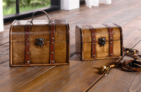 Vintage Wooden Trunk, Treasure Chest, Storage Box, Trunk Suitcase Furniture, Trunk Box, Suitcase with Lid, Set of 2