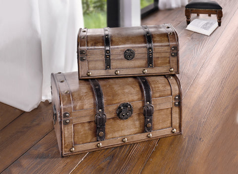 Vintage Wooden Trunk, Treasure Chest, Storage Box, Trunk Suitcase Furniture, Trunk Box, Suitcase with Lid, Decorative Chest Box with Straps, Set of 2