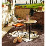 Outdoor Garden Furniture Metal Folding Table and Chair Set Marble Mosaic Star Patio Furniture