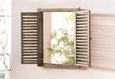 Wood Window Mirror, Mirror Window with Folding Shutters, Wall Decoration, Country Home Decoration, Home Wall Décor