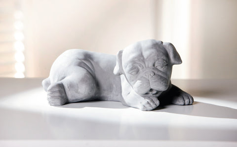 Gray Puppy, Decorative Figure, Garden Figure, Dog Statue Decoration, Garden Ornament Dog, Puppy Garden Ornament