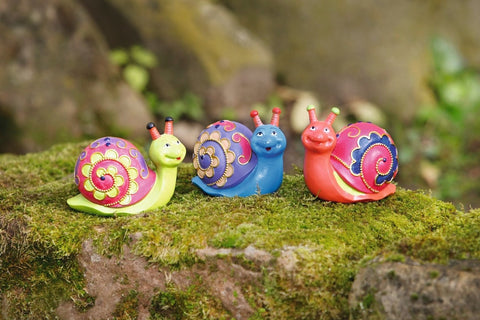 Garden Decoration figurine Circus Snail, Funny design Snail in bright colors