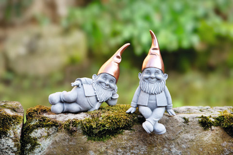 Garden Gnome, Copper Beanie, Garden Decoration, Gnome in Style, Garden Ornament, Home Decoration Set if 2