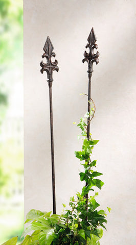 Solid Cast Iron, Garden Stake Garden Metal Lily, Metal Garden Rod, Garden Decoration Stand, Set of 2
