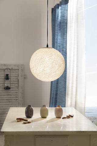 GLOBE HANGING LAMP, WHITE CEILING LIGHT, HANGING CEILING LAMP, PENDANT HANGING LIGHT, CORD BRAID DESIGN,