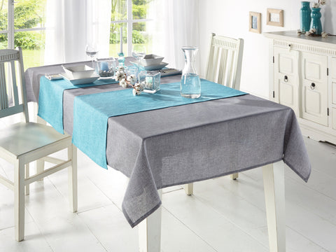 Turquoise Table Runner, Melange Table Top, Tablecloth, Table Cover, Table Decoration, Outdoor Picnic, Casual Dining Essentials