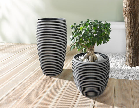 Small Planting Pot Black And Gray Circle Design Garden Pots Indoor