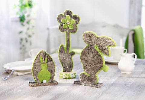 Decoration bunny Natural Cute easter bunny with Green Felt Decoration