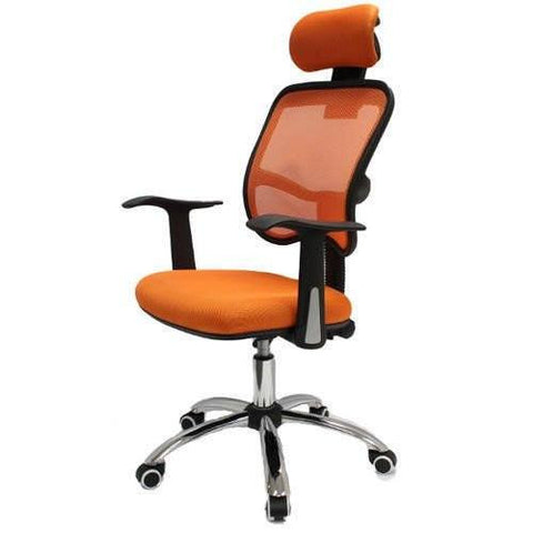 Mesh Chair Designer Chrome Chair Adjustable Executive Office Computer Desk Chair Seat Fabric Orange