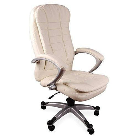 Luxury Chair Executive Chair Office Chair Boss Chair Swivel Leather Computer Desk Chair (Luxury Double Pad Cream) eMarkooz(TM)