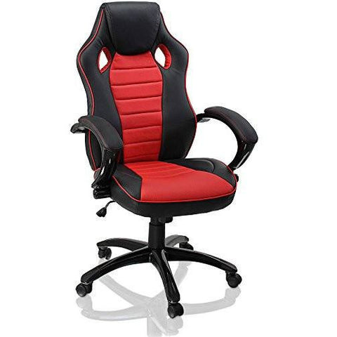 Sports Racing Chair Designer Gaming Executive Swivel PU Computer Office Chair (Black and Red)