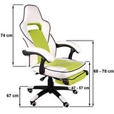 Office Chair Desk Chair Racing Chair Computer Chair Gaming Chair with High Back Pu Leather Executive (White Green Luxury)