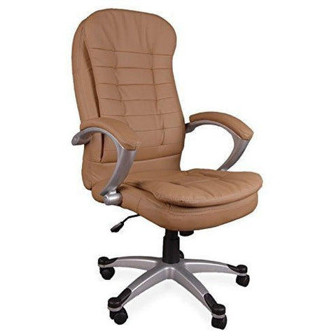 Executive Manager Chair Executive Chair Office Chair Boss Chair Swivel Leather Computer Desk Chair (Luxury Double Pad Brown) eMarkooz