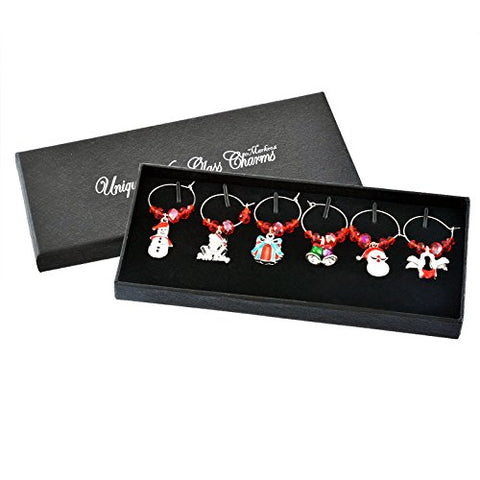 Christmas Xmas Wine Glass Charms Table decorations in Gift Box  Red Beads Amazon