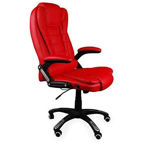 Office Chair, Reclining Executive High Back Office Desk Chair Faux Leather Swivel (Red)