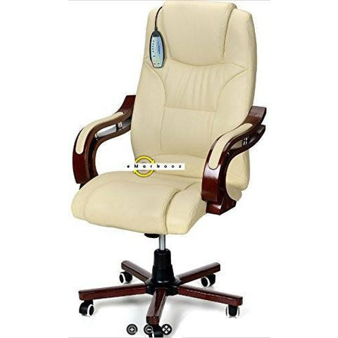 Executive Chair Leather High Back Reclining Office Desk Chair Wooden Cream