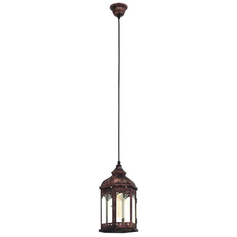 lantern shape in Copper colour 1L Steel, Glass  Ceiling hanging  Light Pendant Flush Lamp Fixture Lighting Chandelier Indoor Lighting Home Decoration