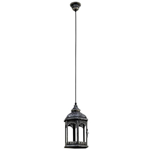 Lantern Shape Hanging Light, Steel, Glass Ceiling Pendant Lamp, Fixture Lighting, Metal Indoor Lighting Home Decoration Antique Black Light