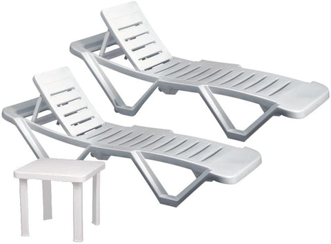 Resol Master Sun Plastic Sun Loungers & Resol Side Table Stylish and Durable Garden furniture Plastic Sun lounger,UV Resistant Pack of 3 (2 Loungers + 1 Table)