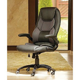 Office Computer Desk Chair Swivel PC Office Chair Tilt Function Padded Adjustable Height PU Leather Fine Fabric (Designer Black Grey Padding) eMarkooz (TM)